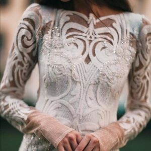 Sequin Lace Bridal Gown Beaded Long Sleeve tall s